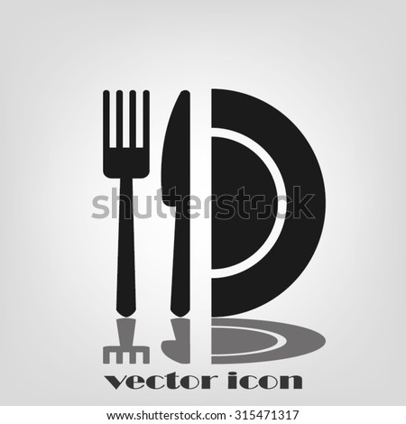 fork, knife and plate icon  - stock vector