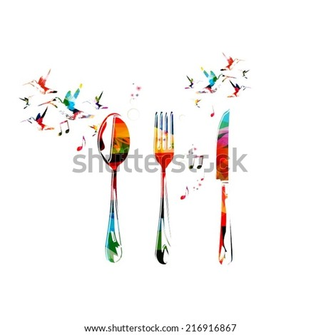 Fork, knife and spoon background - stock vector