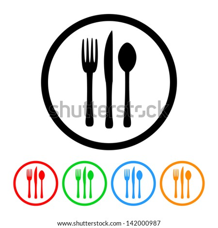 Fork Knife and Spoon Silverware Food & Restaurant Icon in Vector Format with Four Color Variations - stock vector