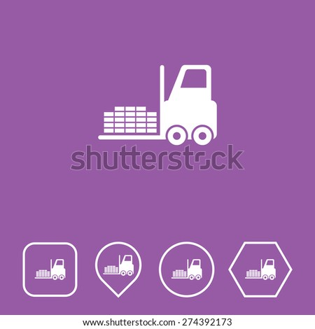 Fork Lift Icon on Flat UI Colors with Different Shapes. Eps-10. - stock vector