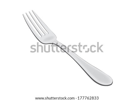 Fork shaded isolated on white background - vector illustration - stock vector