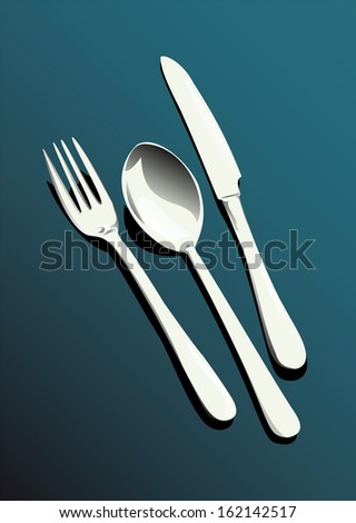 fork, spoon and knife - stock vector