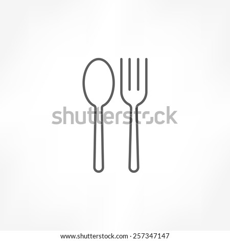 fork & spoon icon - stock vector