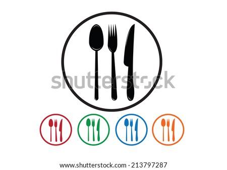 fork spoon knife - stock vector
