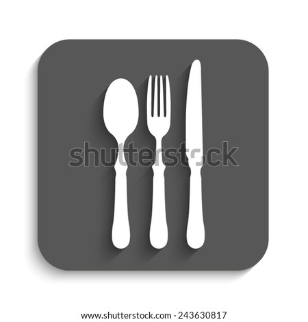 fork spoon knife - vector icon with shadow on a grey button - stock vector
