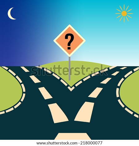 Forked Road, depicting the concept: choices or choosing - stock vector