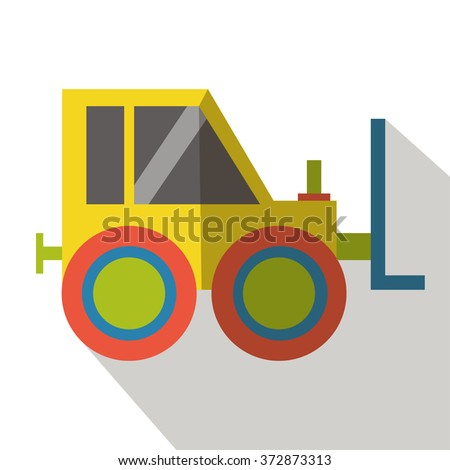 Forklift flat icon  - stock vector