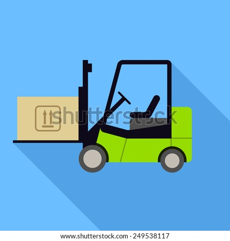 Forklift icon. Flat Design vector icon - stock vector