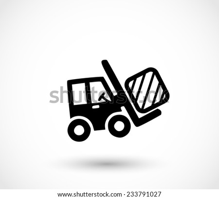 Forklift icon vector - stock vector
