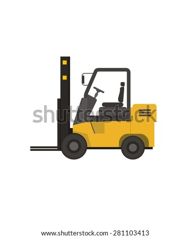 forklift simple illustration - stock vector