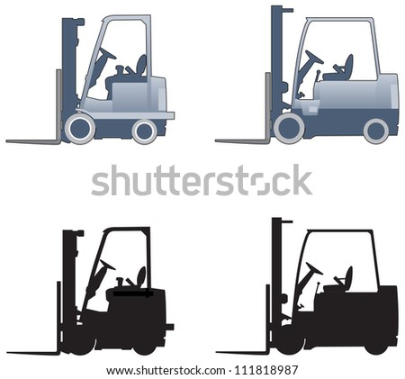 Forklift truck elevations - stock vector
