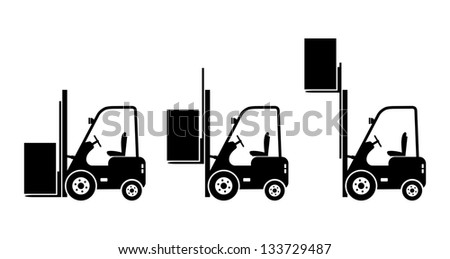 Forklift truck icons - stock vector