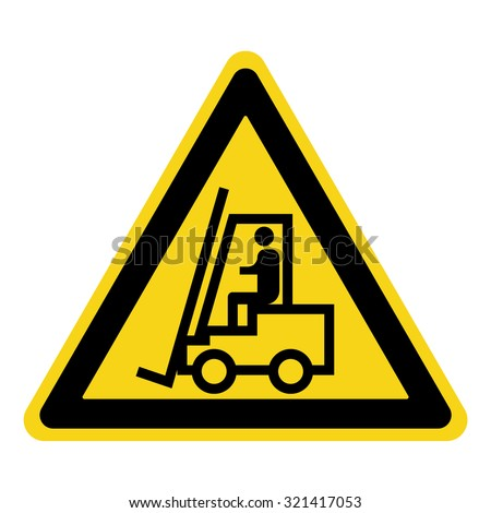 Forklift truck sign. Symbol of threat alert. Hazard warning icon. Black lift-truck with the silhouette of a man emblem isolated in yellow triangle on white background. Danger label. Vector - stock vector