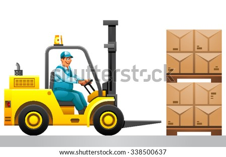Forklift truck with boxes on pallet. Cargo.Forklift driver  driving forklift at warehouse of freight forwarding company.warehouse worker driver in uniform stacking cardboxes by forklift stacker loader - stock vector