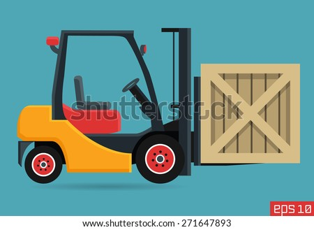 Forklift Truck With Wooden Crate Vector Image  - stock vector