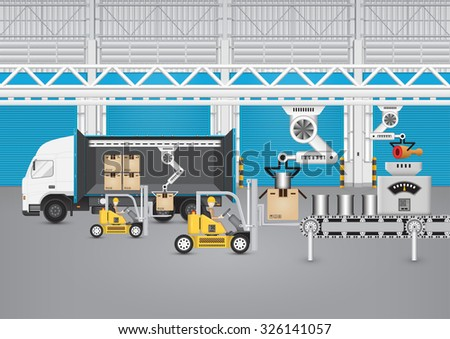 Forklift working with truck and carton inside factory. - stock vector