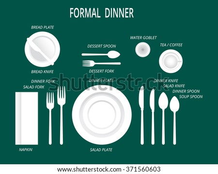 Formal dinner place settings. Dinner table set. Set for food and drink. Dinner set with text labels. Plates, forks,spoons,knifes,glass, cup and napkin. vector illustration of dishware and cutlery. - stock vector
