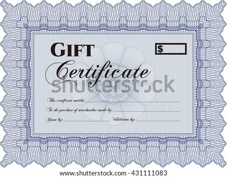 Formal Gift Certificate. Complex background. Lovely design. Customizable, Easy to edit and change colors.  - stock vector