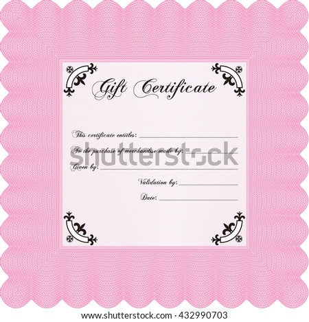 Formal Gift Certificate. Lovely design. Customizable, Easy to edit and change colors. Complex background.  - stock vector