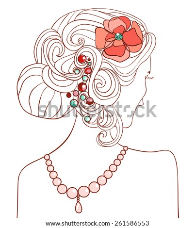 Formal hairstyle and a girl. Vector illustration - stock vector