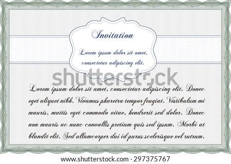 Formal invitation template. Detailed.Printer friendly. Good design.  - stock vector