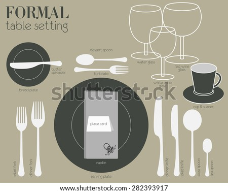 FORMAL TABLE SETTING Formal dining table setting with full equipped utensil are decorated in modern style. - stock vector