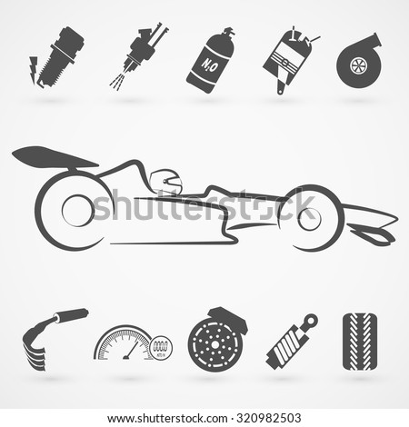 Formula car logo hand draw with many modification item.(EPS10 Art vector) - stock vector
