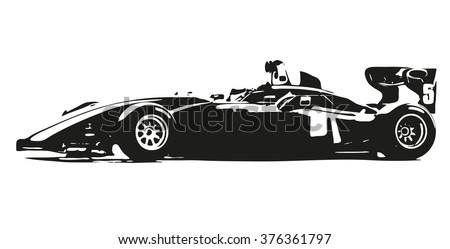 Formula car vector silhouette illustration - stock vector