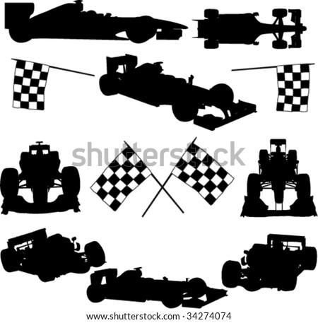 formula cars - vector - stock vector