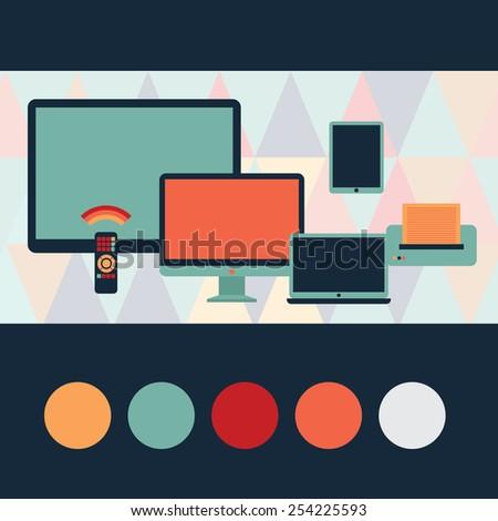 Formulation technique. Includes monitor, plasma display, remote control, printer, tablet, laptop - stock vector