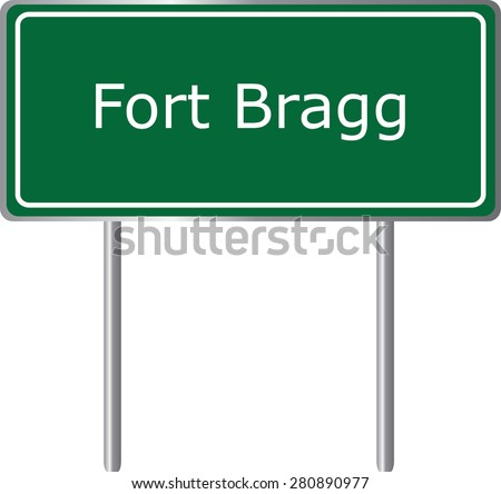 Fort Bragg , California, road sign green vector illustration, road table, USA city - stock vector
