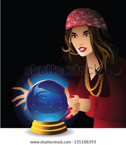 Fortune teller. EPS 8 vector, grouped for easy editing. No open shapes or paths. - stock vector