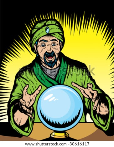 Fortune teller looking into globe.  Globe and guru are on separate layers, and can be removed. - stock vector
