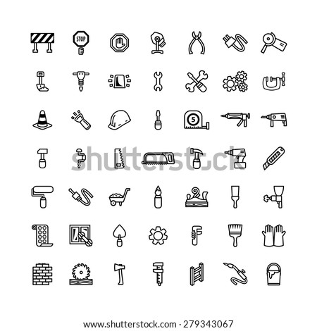 Forty nine black outline tool icons isolated on white - stock vector