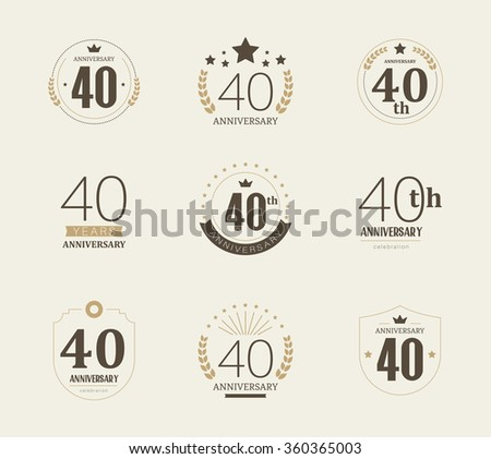 Forty years anniversary celebration logotype. 40th anniversary logo collection. - stock vector
