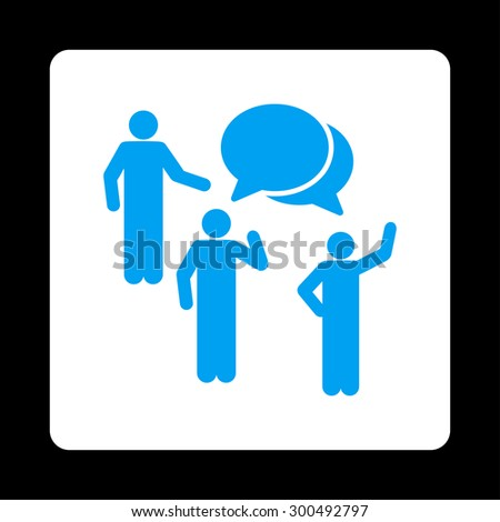 Forum icon. This flat rounded square button uses blue and white colors and isolated on a black background. - stock vector