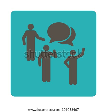 Forum icon. This flat rounded square button uses grey and cyan colors and isolated on a white background. - stock vector