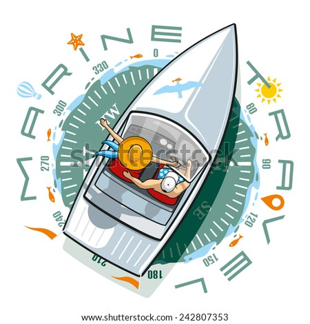 Forward in a sea voyage, to meet all the winds - stock vector