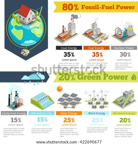 Fossil-fuel power and renewable energy generation electricity, plant infographics. Vector illustration - stock vector