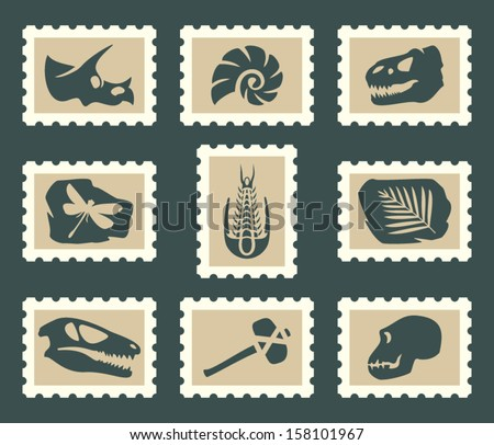 Fossiles set - stock vector