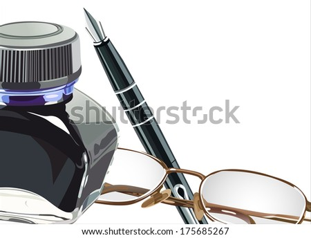 Fountain pen notebook and glasses and ink - stock vector