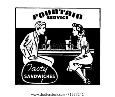 Fountain Service 2 - Retro Ad Art Banner - stock vector