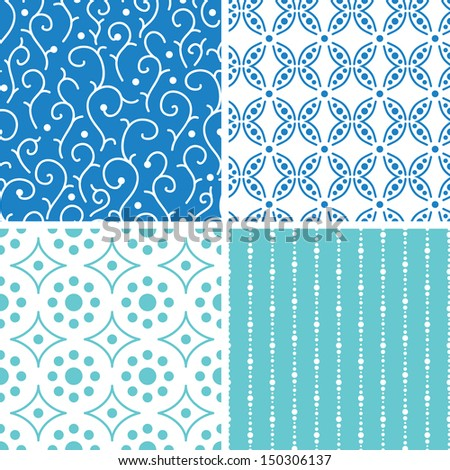 Four abstract doodle motives seamless patterns set - stock vector