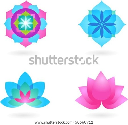 Four abstract yoga backgrounds - stock vector