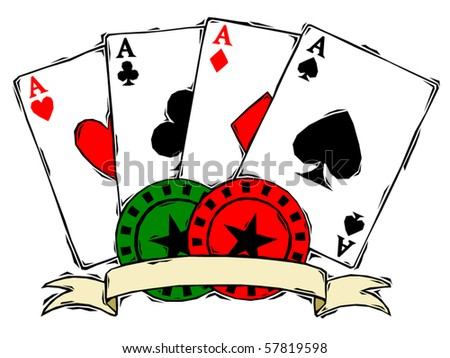 Four aces with poker chips and banner in woodcut style - stock vector