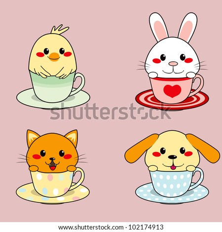 Four adorable cute little animals inside colorful teacups - stock vector
