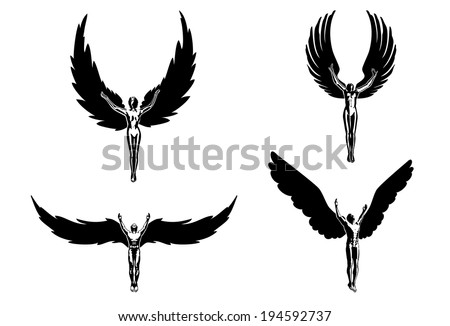 Four angels religion people symbol sign flying - stock vector