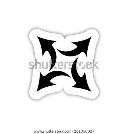 four arrows in different directions on a white background with shadow - stock vector