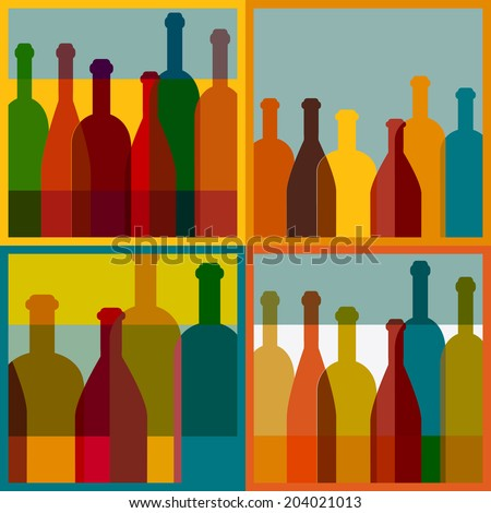 Four art wine bottle designs. Vector colored image. - stock vector