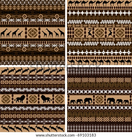 Four backgrounds with African motifs and animals - stock vector